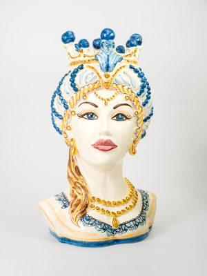 Testa di Moro donna mezzobusto realizzata da Terrecotte del Sole, decorata in blu e giallo arancio.