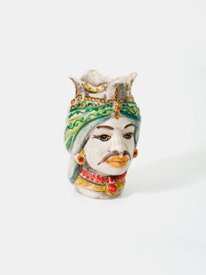 Testa di Moro afro uomo, con corona decoro verde e rosso