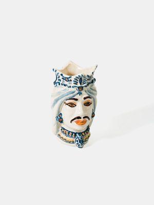 Testa di Moro afro uomo, bianco con decoro blu.