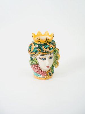Testa di Moro donna, con frutta e corona, decoro tronchetto verde.