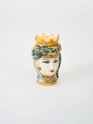 Testa di Moro donna con corona, decoro campito blu.