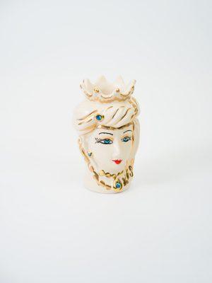 Testa di Moro donna con corona, decorata in oro.