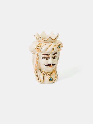 Testa di Moro uomo con corona, decorato in oro.